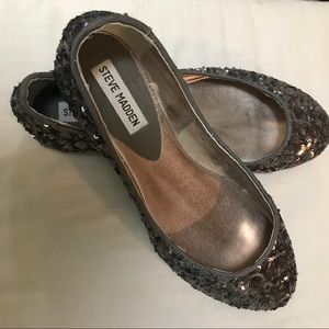 Steve Madden Gold Sequin Flats Size 8, Like New